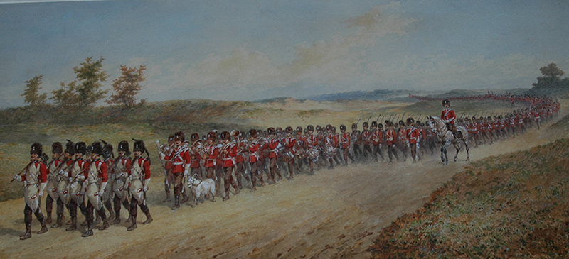 2 RWF on the March in North Wales - Painted by Orlando Norie